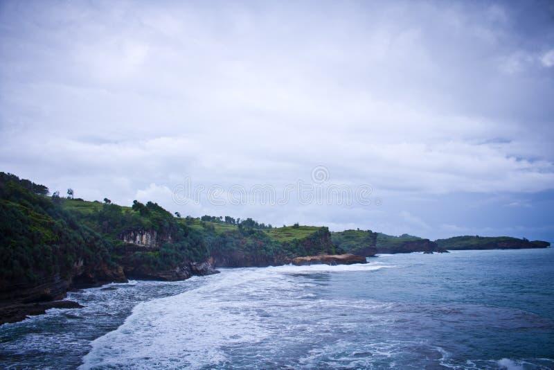 Pantai Klayar Lookout view on big land stock photos
