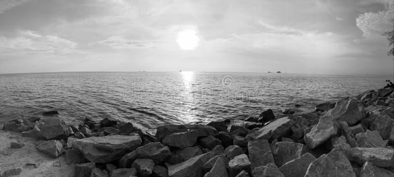 Pantai Remis sunset blackandwhite stock photos