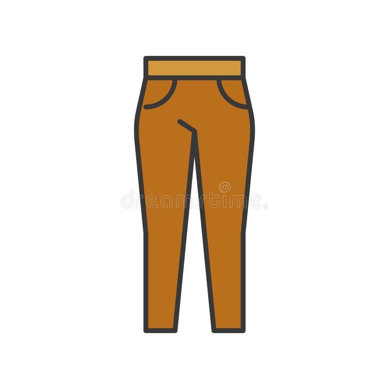 Pantalón femenino, movimiento editable llenado del esquema del color ilustración del vector