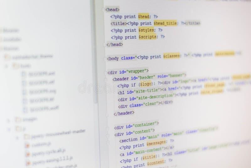 Pantalla abstracta programada del código del desarrollador de software fotos de archivo libres de regalías