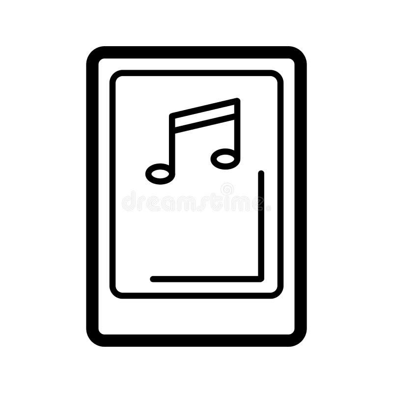 Pantalla aislada de la tableta con símbolo del jugador de música en el fondo blanco Concepto de aparato de lectura audio, multime stock de ilustración