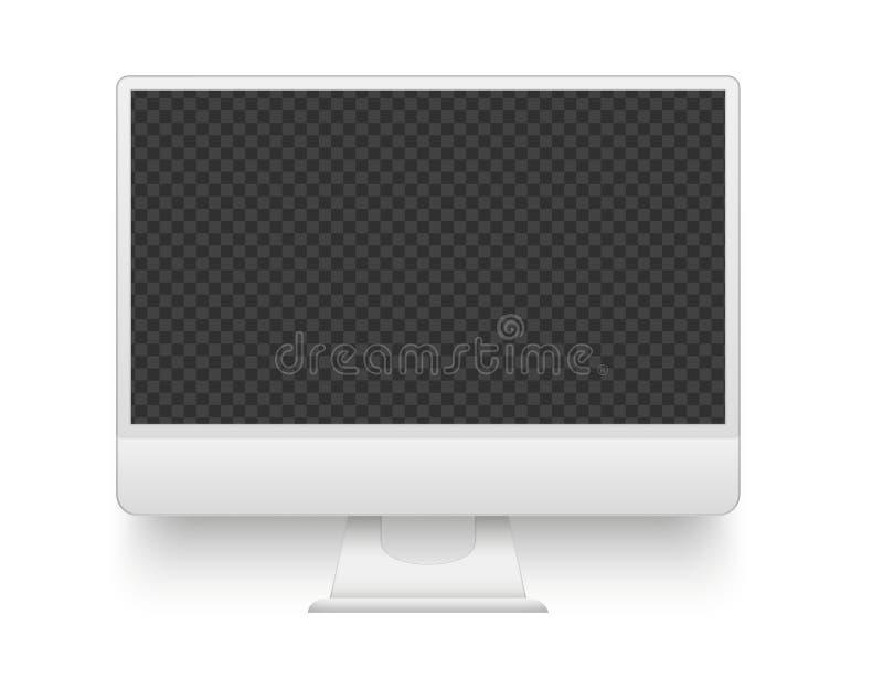 Pantalla blanca de la PC Ejemplo del vector del dispositivo de la electrónica de la maqueta stock de ilustración