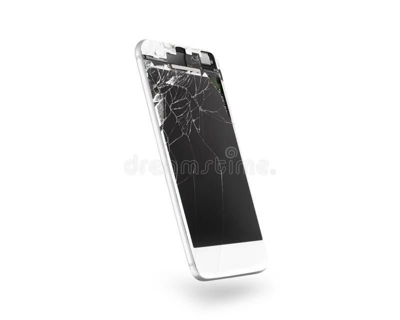 Pantalla blanca quebrada del teléfono móvil, vista lateral, aislada, trayectoria de recortes foto de archivo libre de regalías