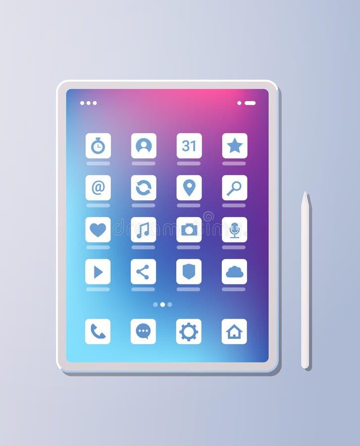 Pantalla colorida de la tableta de la PC de la aplicación móvil del ui creativo realista de los iconos en concepto gris de la tec stock de ilustración