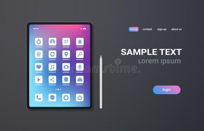 Pantalla colorida de la tableta de la PC de la aplicación móvil del ui realista de los iconos en el concepto gris de la tecnologí libre illustration