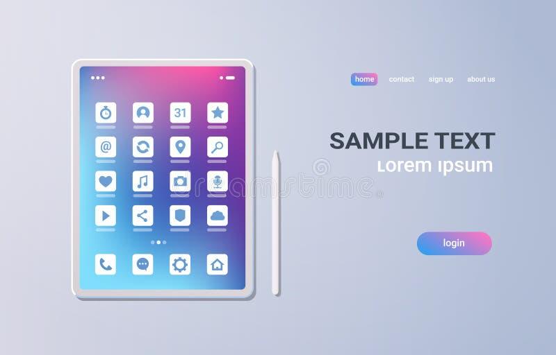 Pantalla colorida de la tableta de la PC de la aplicación móvil del ui realista de los iconos en el concepto gris de la tecnologí stock de ilustración