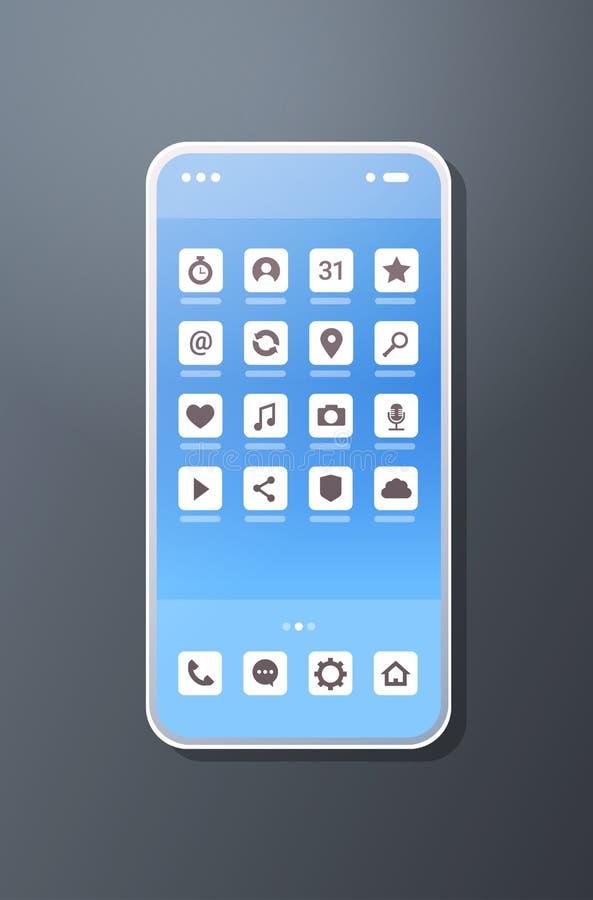 Pantalla creativa del ui del smartphone de los iconos realistas de la aplicación móvil en vertical gris del concepto de la tecnol libre illustration