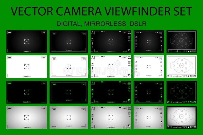 Pantalla de concentración de la cámara moderna con los ajustes 20 en 1 paquete - digital, mirorless, DSLR ilustración del vector