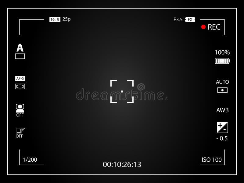Pantalla de concentración digital moderna de la cámara de vídeo con los ajustes Grabación enmarcada negro de la cámara del visor  ilustración del vector