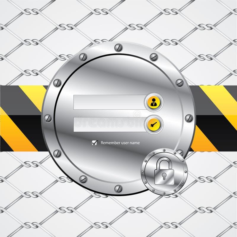 Pantalla de conexión industrial del tema de la cerca de alambre ilustración del vector