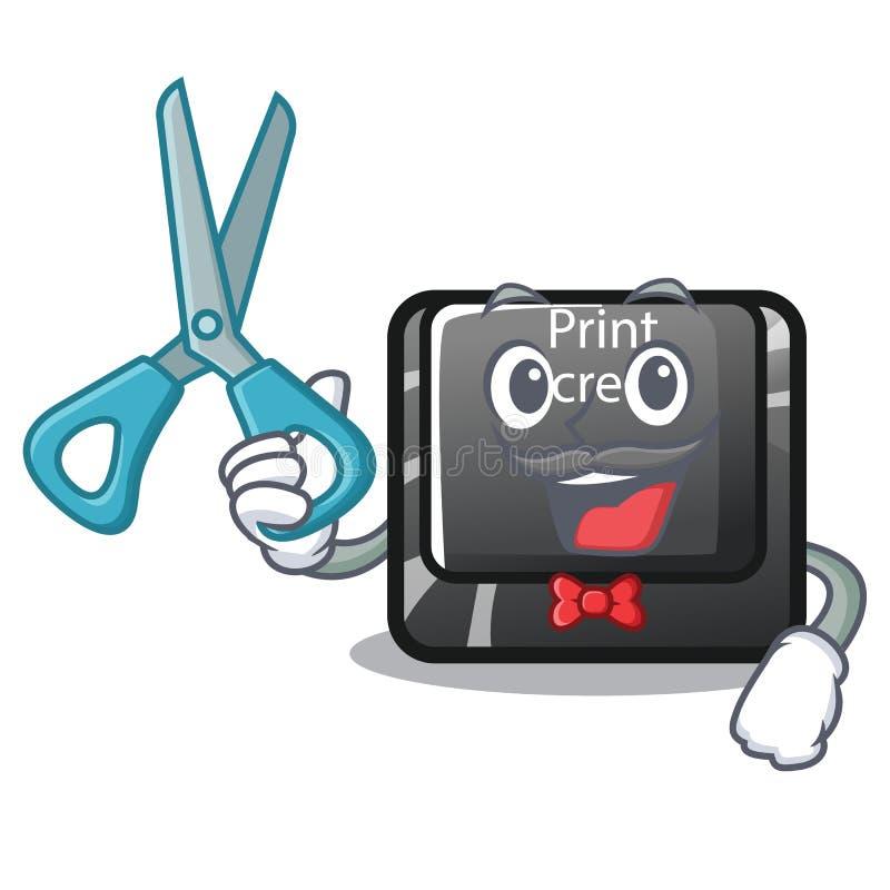 Pantalla de impresión del botón del peluquero el carácter del ordenador ilustración del vector