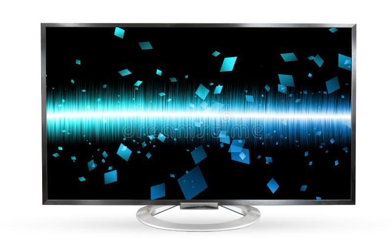 Pantalla de la onda acústica del monitor de la televisión aislada en el fondo blanco foto de archivo libre de regalías