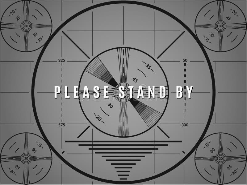 Pantalla de la prueba del vintage TV Haga una pausa por favor el modelo de la calibración de la televisión stock de ilustración