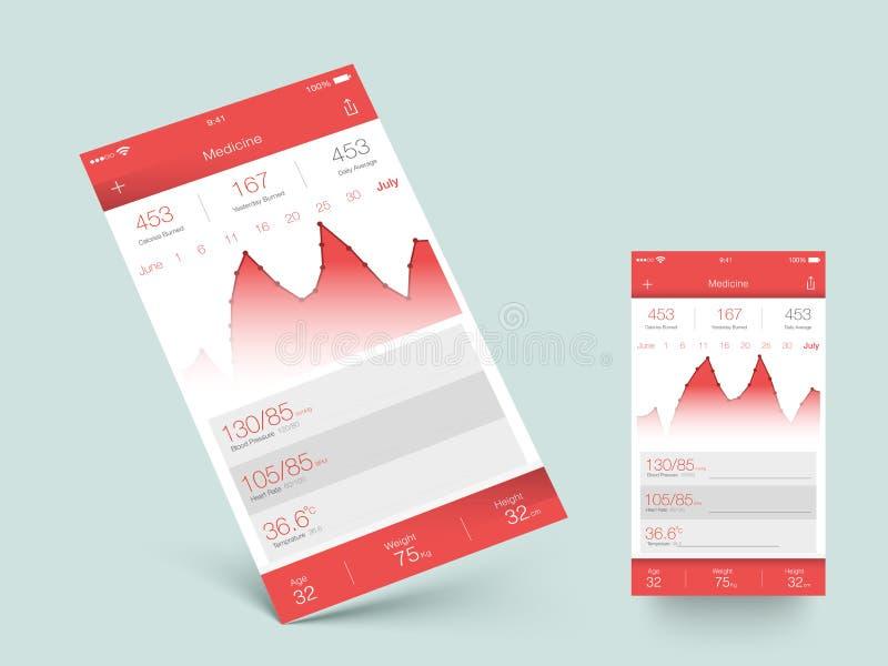 Pantalla de la salud y de la aptitud UI para el móvil libre illustration