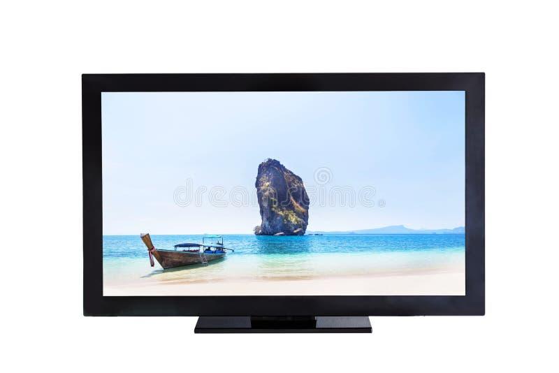 Pantalla de la televisión TV con el barco del longtail y pequeña isla en la imagen del mar fotografía de archivo