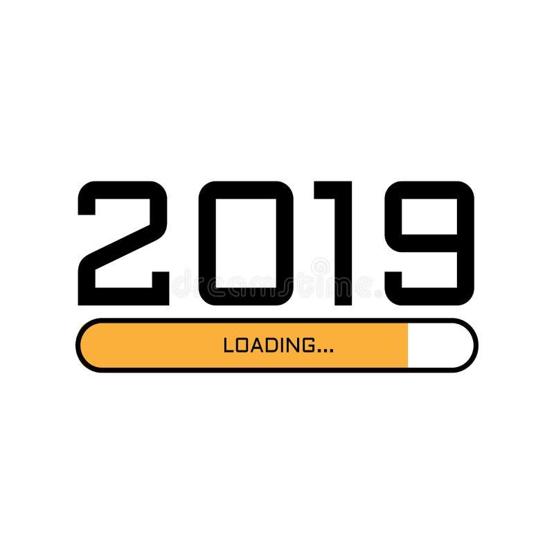 Pantalla de la transferencia directa del Año Nuevo Barra de progreso casi que alcanza víspera del ` s del Año Nuevo Ejemplo del v stock de ilustración