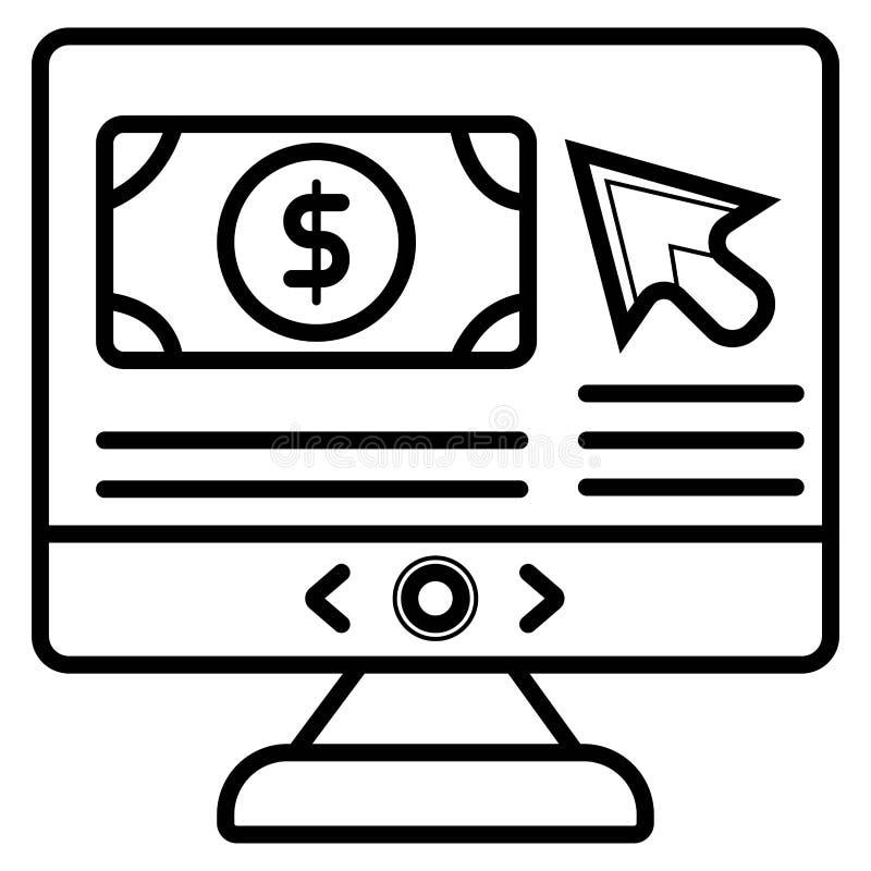 Pantalla de monitor de computadora con el icono del dólar libre illustration