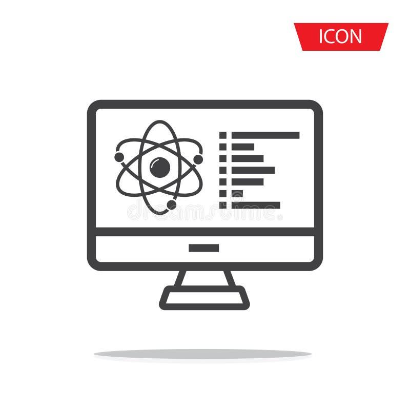 Pantalla de monitor con el icono del vector de la estructura molecular muestra plana llenada para el concepto y el dise?o web m?v ilustración del vector