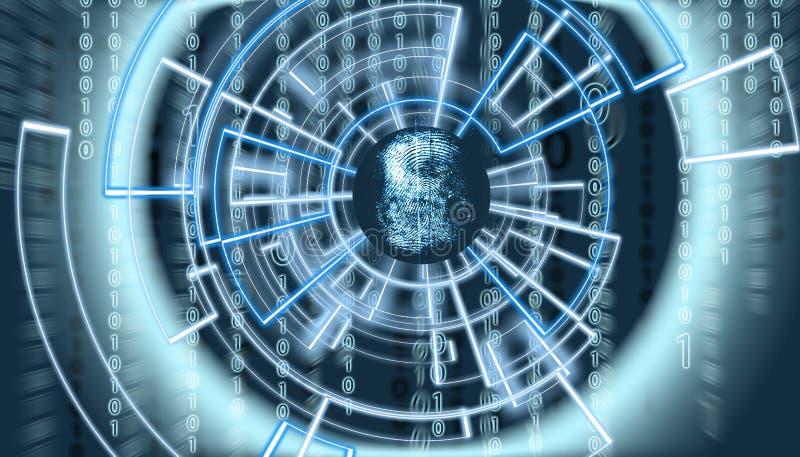 Pantalla de OM de la huella dactilar abstracta con código de la matriz en el fondo y patern virtuales rodeándolo fotos de archivo libres de regalías