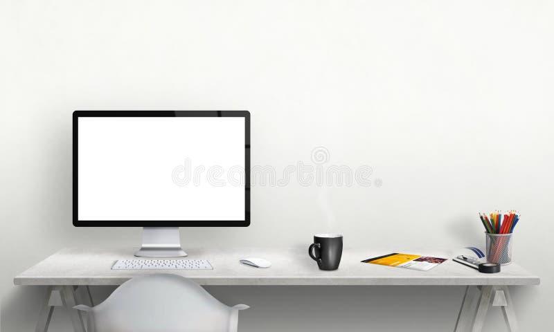 Pantalla de ordenador aislada para la maqueta en interior de la oficina fotos de archivo