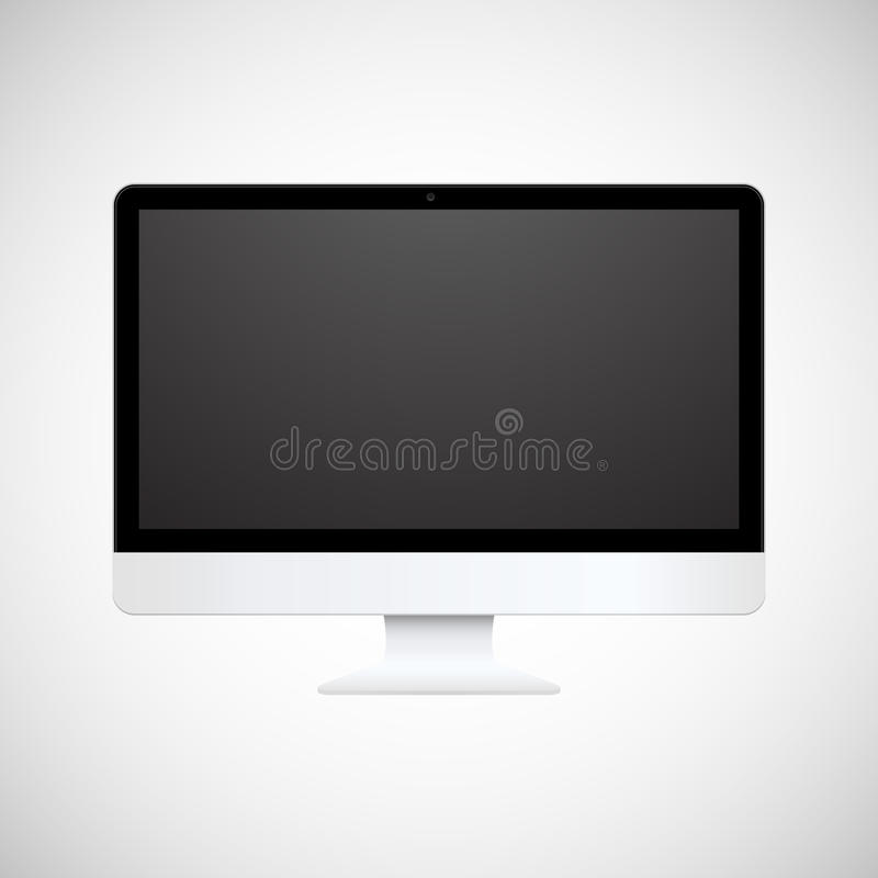 Pantalla de ordenador blanca aislada ilustración del vector
