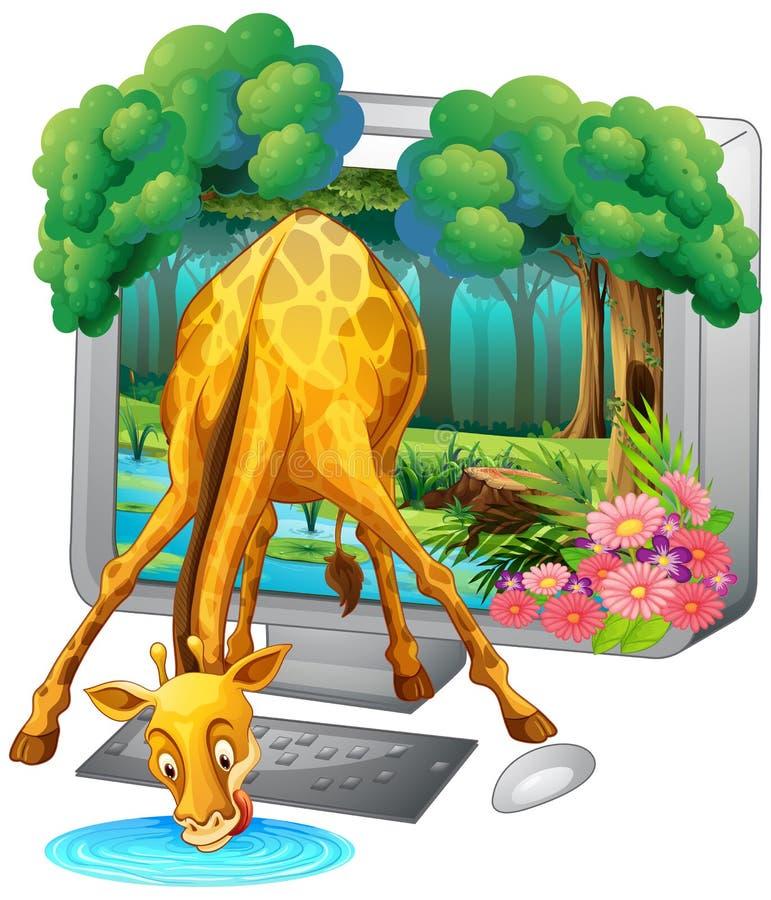 Pantalla de ordenador con el agua potable de la jirafa stock de ilustración