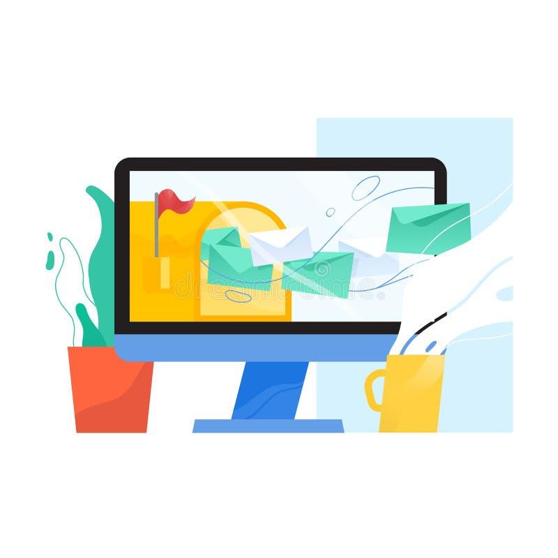 Pantalla de ordenador con el buzón abierto y letras en los sobres que vuelan de él en la pantalla, el houseplant y la taza Correo libre illustration