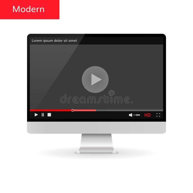 Pantalla de ordenador con el jugador moderno video libre illustration