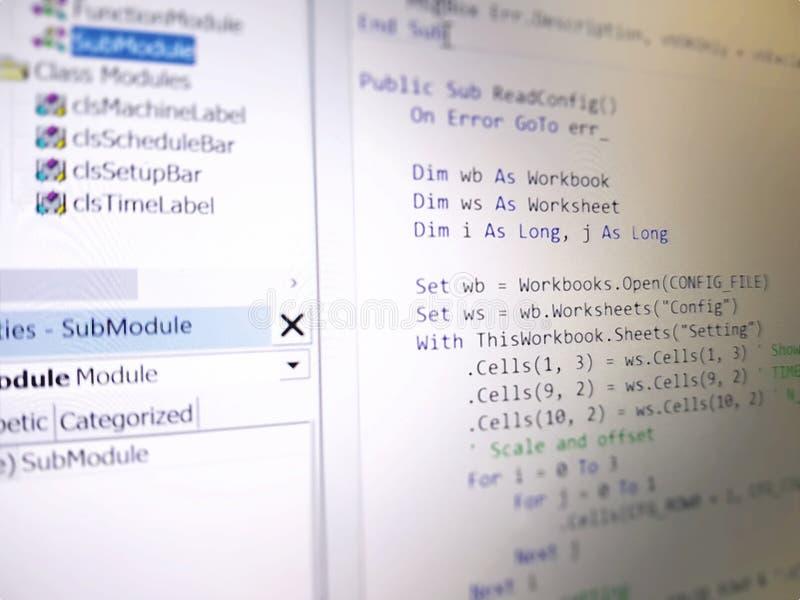 Pantalla de ordenador del primer de los códigos de programación del lenguaje fotografía de archivo libre de regalías