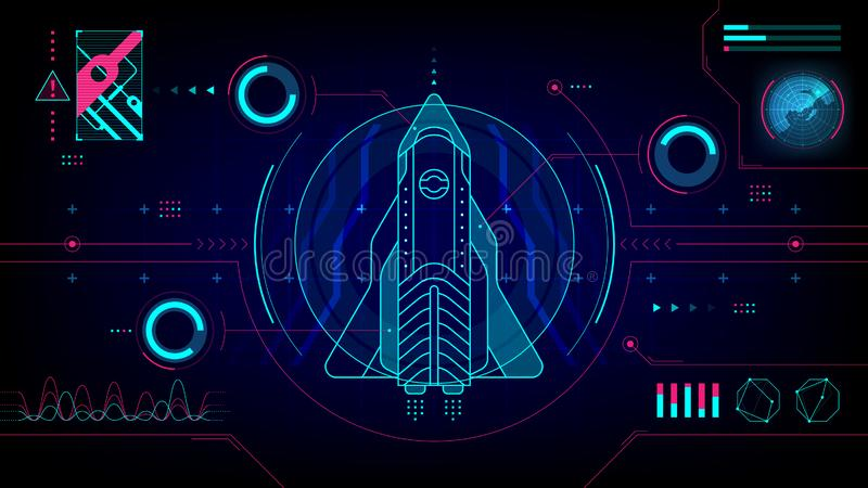 Pantalla de ordenador futurista de la tecnología de HUD de la nave espacial libre illustration