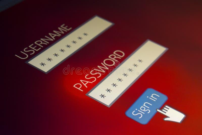 Pantalla de ordenador de la contraseña de usuario del inicio de sesión imagen de archivo libre de regalías