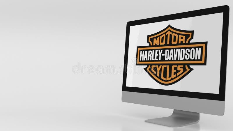 Pantalla de ordenador moderna con el logotipo de Harley-Davidson Representación editorial 3D libre illustration
