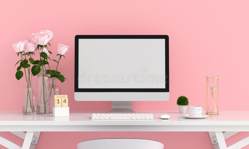Pantalla de ordenador para la maqueta, concepto de la tarjeta del día de San Valentín, representación 3D ilustración del vector