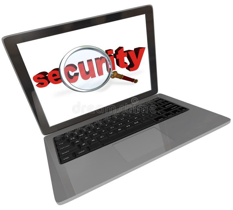 Pantalla de ordenador portátil de la lupa de la palabra de la seguridad ilustración del vector