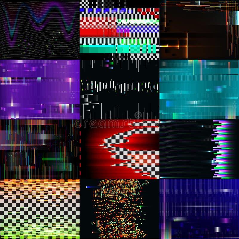Pantalla de ordenador rota TV pixelated ruidosa glitchy del modelo de la textura del vector del fondo de la interferencia con rui ilustración del vector