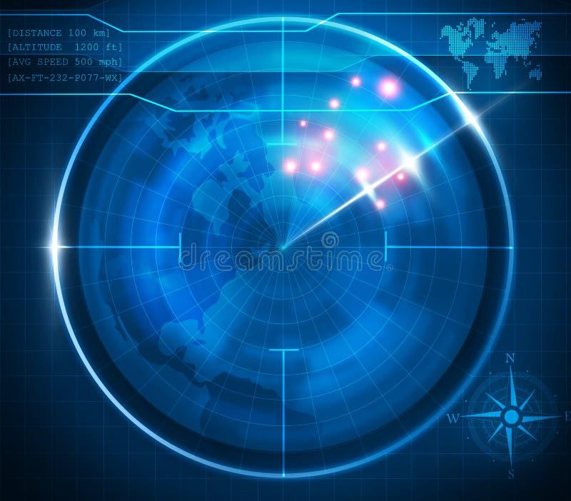 Pantalla de radar azul ilustración del vector