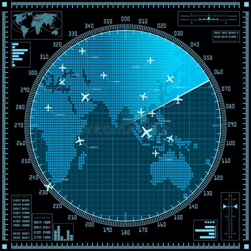 Pantalla de radar azul con los aviones y el mapa del mundo stock de ilustración