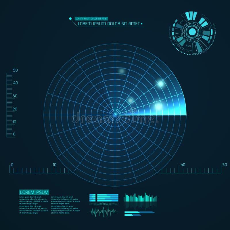 Pantalla de radar azul Ilustración del vector para su agua dulce de design Fondo de la tecnología Interfaz de usuario futurista H ilustración del vector