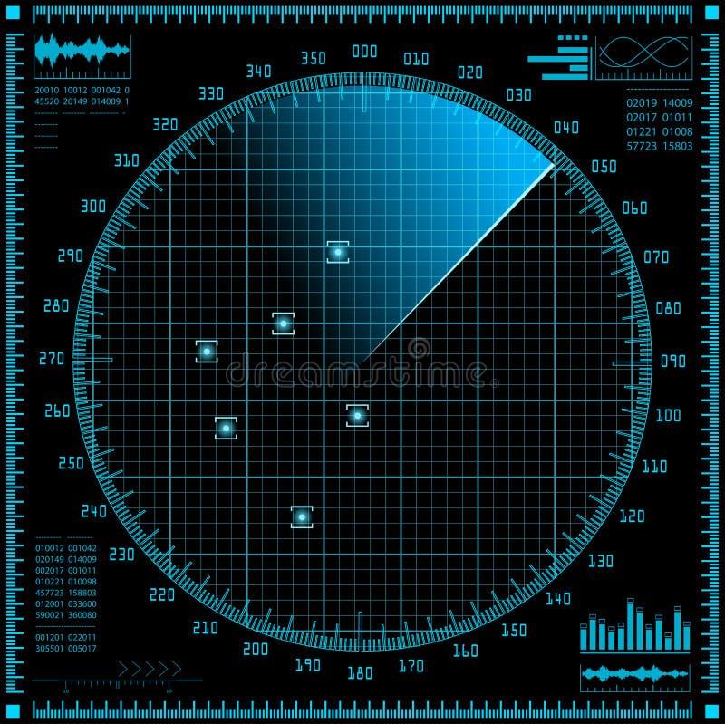 Pantalla de radar azul Interfaz de HUD stock de ilustración