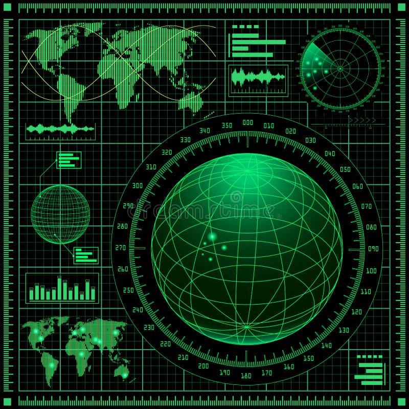 Pantalla de radar con la correspondencia de mundo