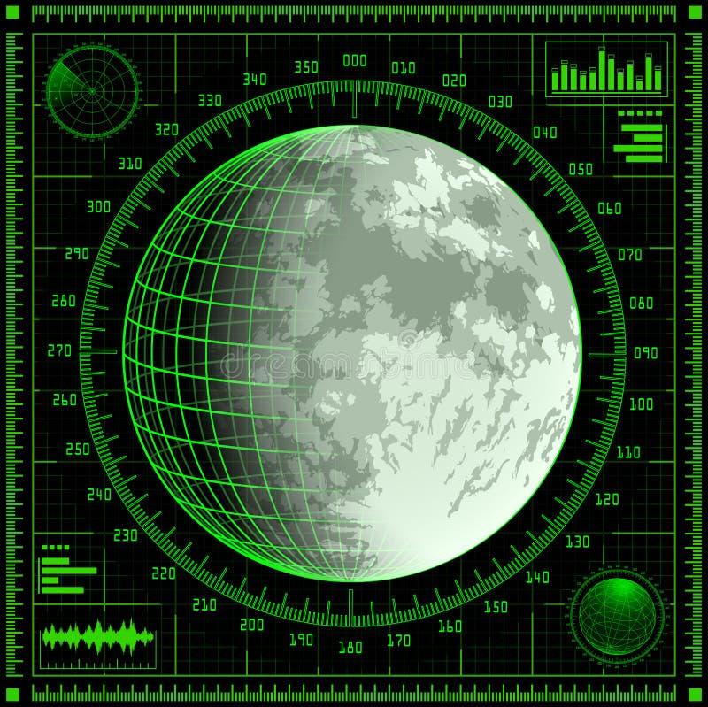 Pantalla de radar con la luna ilustración del vector