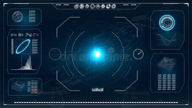 Pantalla de radar HUD Interfaz de usuario futurista Ilustración del vector para su agua dulce de design tubería de alta tecnologí ilustración del vector