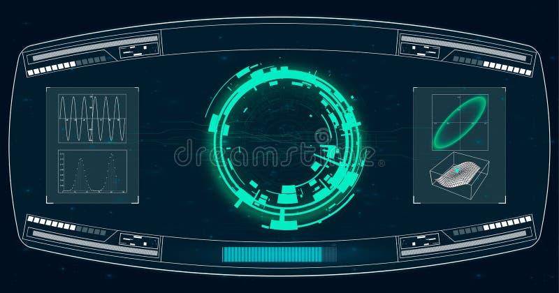 Pantalla de radar Ilustración del vector para su agua dulce de design Fondo de la tecnología Interfaz de usuario futurista HUD ilustración del vector