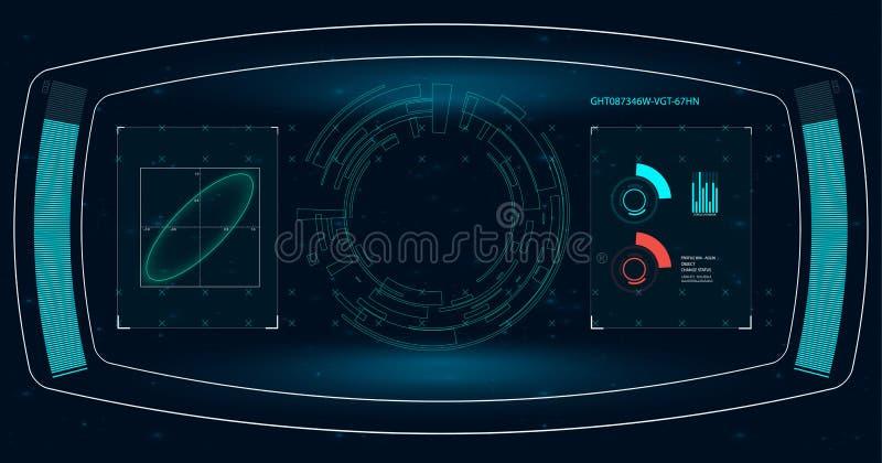 Pantalla de radar Ilustración del vector para su agua dulce de design Fondo de la tecnología Interfaz de usuario futurista HUD stock de ilustración
