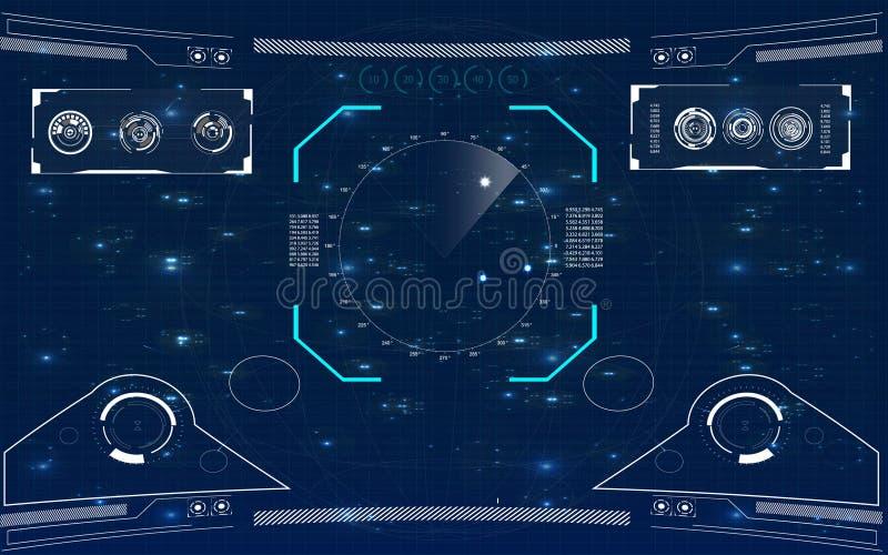 Pantalla de radar Interfaz de usuario futurista ilustración del vector