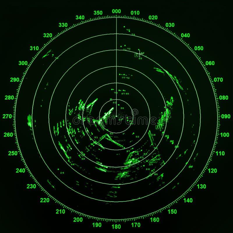 Pantalla de radar moderna de la nave con el mapa redondo verde imágenes de archivo libres de regalías