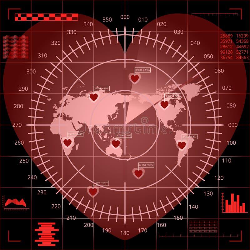 Pantalla de radar roja de Digitaces de la forma del corazón con el mapa del mundo, las blancos y la interfaz de usuario futurista libre illustration