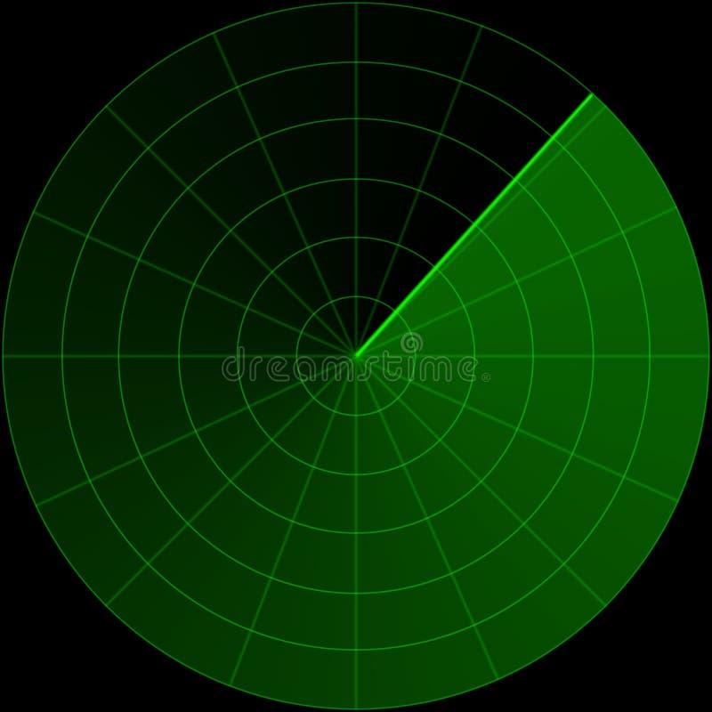 Pantalla de radar verde stock de ilustración
