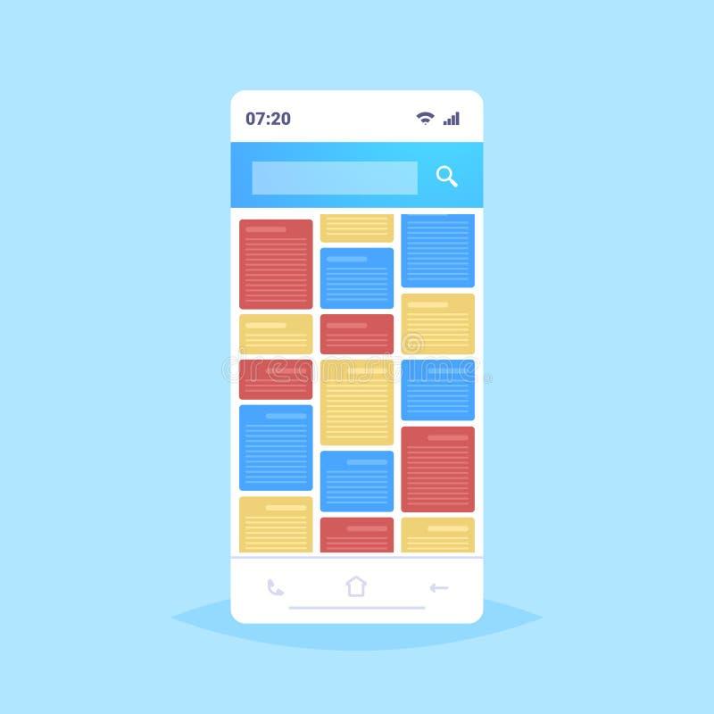 Pantalla de Smartphone con notas coloridas aplicación móvil creativa interfaz de usuario de desarrollo concepto de recordatorio d ilustración del vector