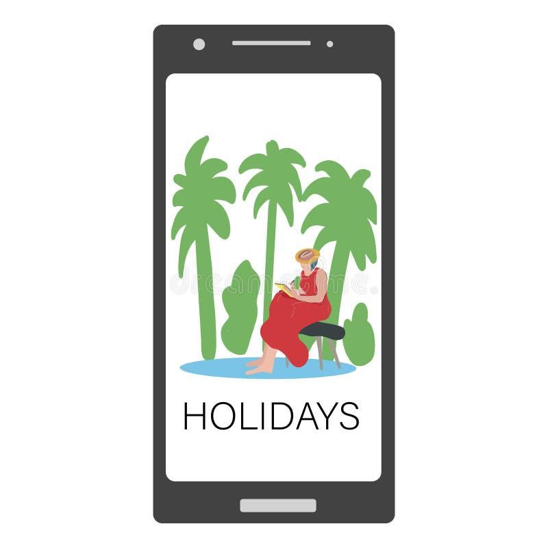 Pantalla de Smartphone con un dibujo de la muchacha o lectura en un banco por las palmeras holidays ilustración del vector